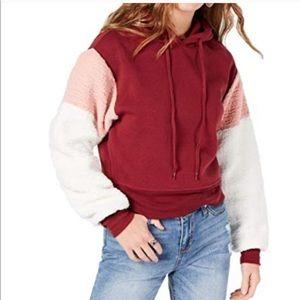 Self Esteem Sherpa sleeve hooded pullover